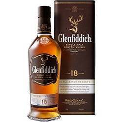 Glenfiddich 18YO single malt scotch whisky